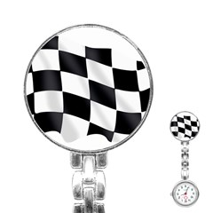 Flag Chess Corse Race Auto Road Stainless Steel Nurses Watch by Amaryn4rt