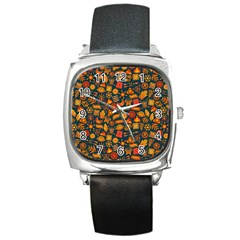 Pattern Background Ethnic Tribal Square Metal Watch by Amaryn4rt