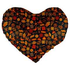 Pattern Background Ethnic Tribal Large 19  Premium Flano Heart Shape Cushions by Amaryn4rt