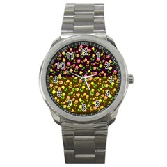 Flowers Roses Floral Flowery Sport Metal Watch by Amaryn4rt