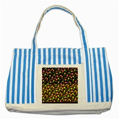 Flowers Roses Floral Flowery Striped Blue Tote Bag by Amaryn4rt