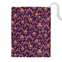 Abstract Background Floral Pattern Drawstring Pouches (xxl) by Amaryn4rt
