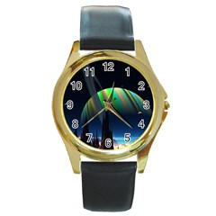 Planets In Space Stars Round Gold Metal Watch by Amaryn4rt