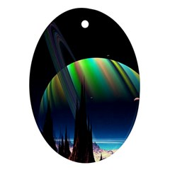 Planets In Space Stars Oval Ornament (two Sides) by Amaryn4rt