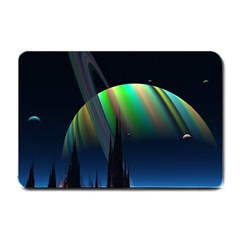 Planets In Space Stars Small Doormat  by Amaryn4rt