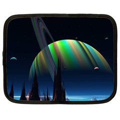 Planets In Space Stars Netbook Case (xxl)  by Amaryn4rt