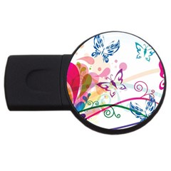 Butterfly Vector Art Usb Flash Drive Round (2 Gb) by Amaryn4rt