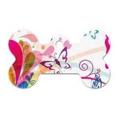 Butterfly Vector Art Dog Tag Bone (one Side) by Amaryn4rt