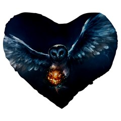 Owl And Fire Ball Large 19  Premium Heart Shape Cushions by Amaryn4rt