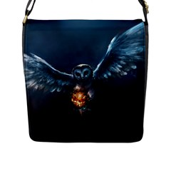 Owl And Fire Ball Flap Messenger Bag (l)  by Amaryn4rt