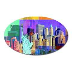 New York City The Statue Of Liberty Oval Magnet by Amaryn4rt