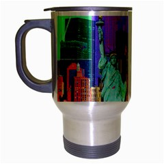 New York City The Statue Of Liberty Travel Mug (silver Gray) by Amaryn4rt