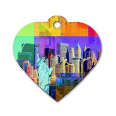 New York City The Statue Of Liberty Dog Tag Heart (two Sides) by Amaryn4rt
