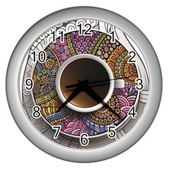Ethnic Pattern Ornaments And Coffee Cups Vector Wall Clocks (silver)  by Amaryn4rt