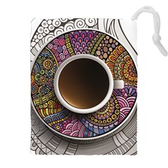 Ethnic Pattern Ornaments And Coffee Cups Vector Drawstring Pouches (xxl) by Amaryn4rt