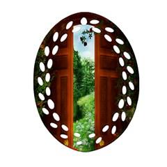Beautiful World Entry Door Fantasy Ornament (oval Filigree) by Amaryn4rt