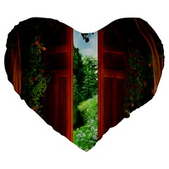 Beautiful World Entry Door Fantasy Large 19  Premium Flano Heart Shape Cushions by Amaryn4rt