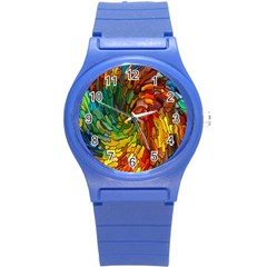 Stained Glass Patterns Colorful Round Plastic Sport Watch (s)