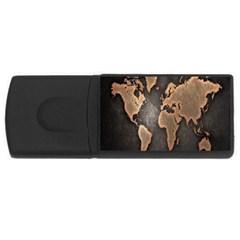 Grunge Map Of Earth USB Flash Drive Rectangular (1 GB) by Amaryn4rt