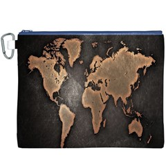 Grunge Map Of Earth Canvas Cosmetic Bag (xxxl)