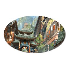 Japanese Art Painting Fantasy Oval Magnet by Amaryn4rt