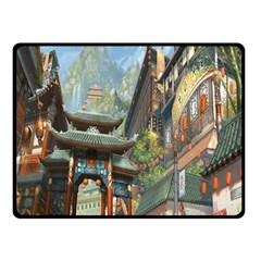 Japanese Art Painting Fantasy Double Sided Fleece Blanket (small)  by Amaryn4rt