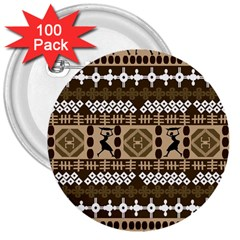 African Vector Patterns 3  Buttons (100 Pack)