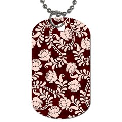 Flower Leaf Pink Brown Floral Dog Tag (two Sides) by Alisyart