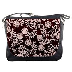 Flower Leaf Pink Brown Floral Messenger Bags by Alisyart