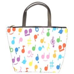Notes Tone Music Purple Orange Yellow Pink Blue Bucket Bags by Alisyart