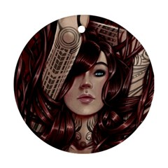 Beautiful Women Fantasy Art Round Ornament (two Sides) by Amaryn4rt