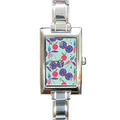 Passion Fruit Pink Purple Cerry Blue Leaf Rectangle Italian Charm Watch by Alisyart