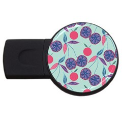 Passion Fruit Pink Purple Cerry Blue Leaf Usb Flash Drive Round (2 Gb) by Alisyart