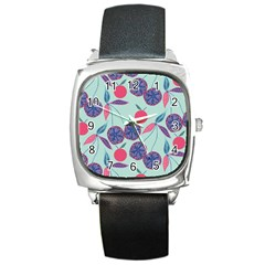 Passion Fruit Pink Purple Cerry Blue Leaf Square Metal Watch by Alisyart