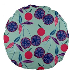 Passion Fruit Pink Purple Cerry Blue Leaf Large 18  Premium Flano Round Cushions by Alisyart