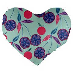 Passion Fruit Pink Purple Cerry Blue Leaf Large 19  Premium Flano Heart Shape Cushions by Alisyart