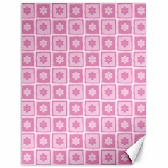 Plaid Floral Flower Pink Canvas 18  X 24   by Alisyart