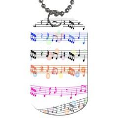 Notes Tone Music Rainbow Color Black Orange Pink Grey Dog Tag (one Side) by Alisyart