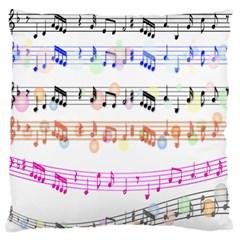 Notes Tone Music Rainbow Color Black Orange Pink Grey Large Flano Cushion Case (one Side) by Alisyart