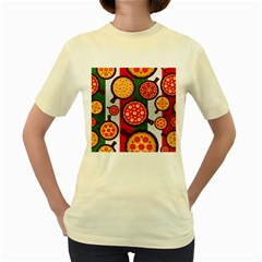 Pizza Italia Beef Flag Women s Yellow T Shirt by Alisyart