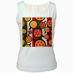 Pizza Italia Beef Flag Women s White Tank Top by Alisyart