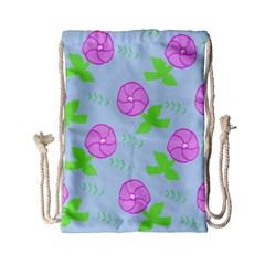 Spring Flower Tulip Floral Leaf Green Pink Drawstring Bag (small) by Alisyart