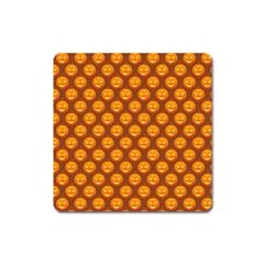 Pumpkin Face Mask Sinister Helloween Orange Square Magnet by Alisyart