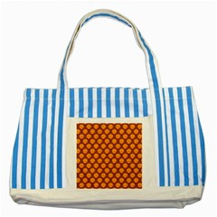 Pumpkin Face Mask Sinister Helloween Orange Striped Blue Tote Bag by Alisyart