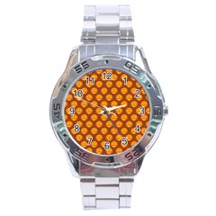 Pumpkin Face Mask Sinister Helloween Orange Stainless Steel Analogue Watch by Alisyart