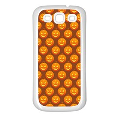 Pumpkin Face Mask Sinister Helloween Orange Samsung Galaxy S3 Back Case (white) by Alisyart