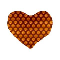 Pumpkin Face Mask Sinister Helloween Orange Standard 16  Premium Flano Heart Shape Cushions by Alisyart