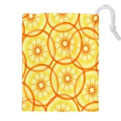 Lemons Orange Lime Circle Star Yellow Drawstring Pouches (xxl) by Alisyart