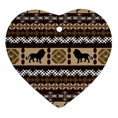 African Vector Patterns  Heart Ornament (two Sides) by Amaryn4rt
