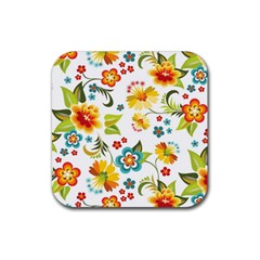 Flower Floral Rose Sunflower Leaf Color Rubber Square Coaster (4 Pack)  by Alisyart